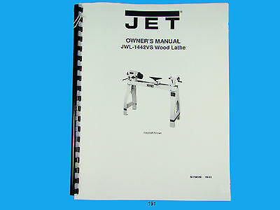 Jet  Jwl-1442vs Wood Lathe Owners Manual 191