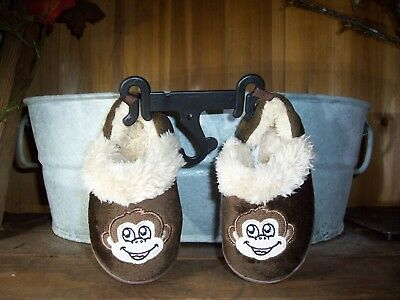BABY TODDLER BOYS MONKEY SLIPPERS SHOES SIZE SM 5-6 BROWN RUBBER SOLES FUR - Boys Monkey Slippers