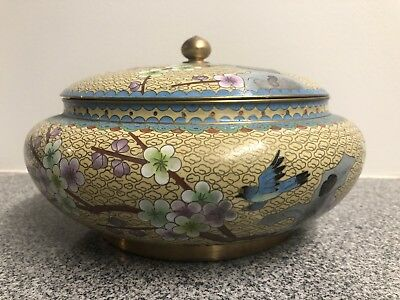 Vintage Cloisonne Wide Bowl w/Lid Cherry Blossoms & Birds Enamel and Brass