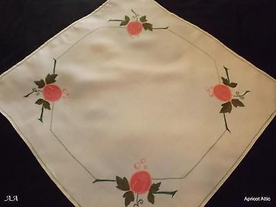 Vintage Irish Linen Embroidered & Applique Tablecloth Topper Art Nouveau Roses