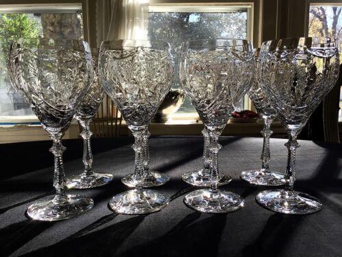 """Rock Crystal 7 5/8"""" Water Goblets (8) Poss. Libbey Rock Sharpe Hawkes"""