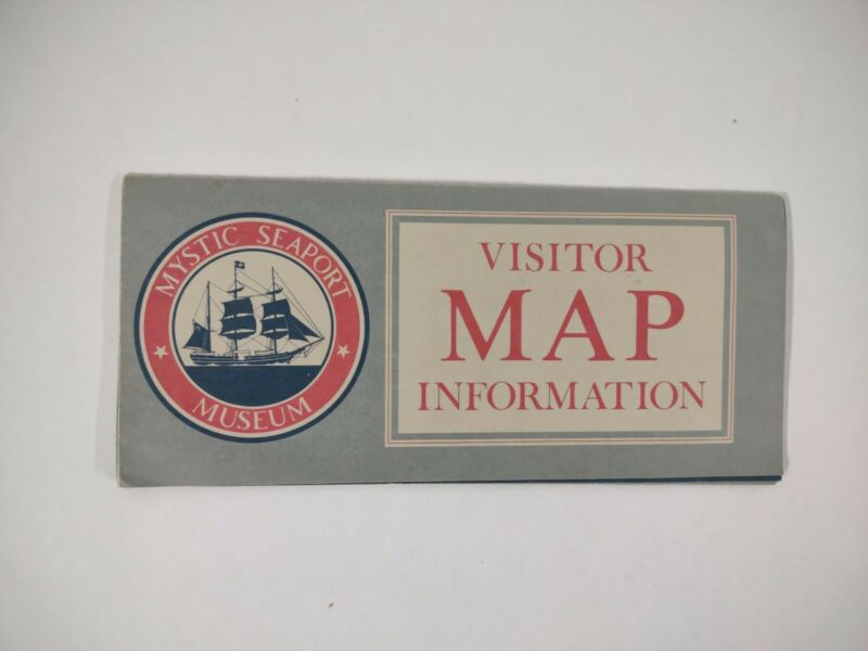 Mystic Seaport MAP visitor Info 1982 Vintage TRAVEL historic Connecticut
