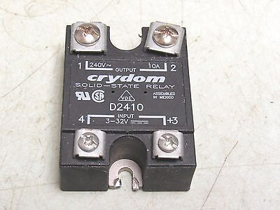 Crydom D2410 Solid State Relay 240v 10a 3-32vdc 30 Day Warranty Free Ship