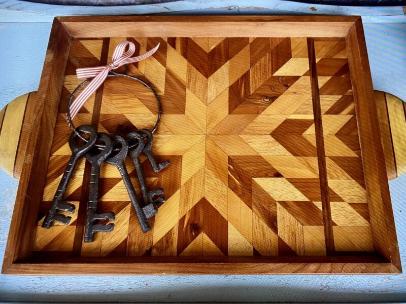 Vintage 20th Century Handmade Intricate Marquetry Inlaid Serving Tray W/ Handles