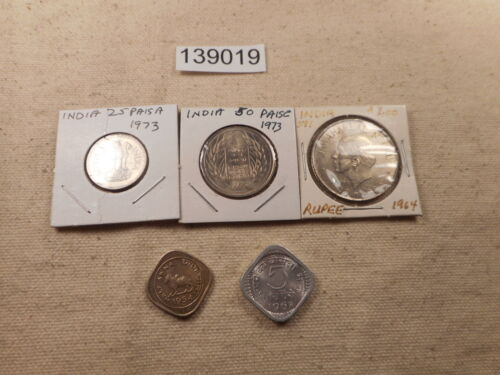 Lot - India - Five Coins - 1950