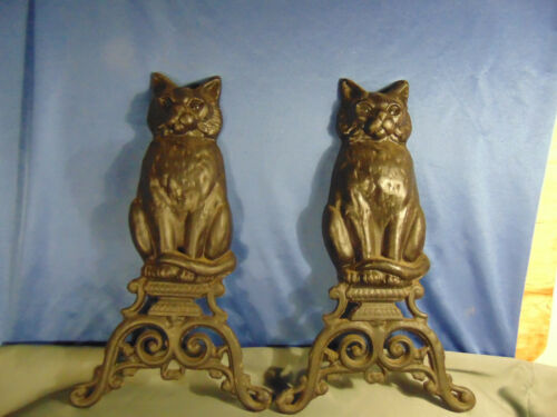 Pair black cast iron SITTING CATS andirons Marble Eyes Fireplace