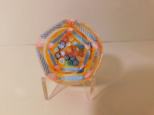 DELIGHTFUL & COLORFUL JOHN DEACONS TOSADE MILLEFIORI Art Glass PAPERWEIGHT