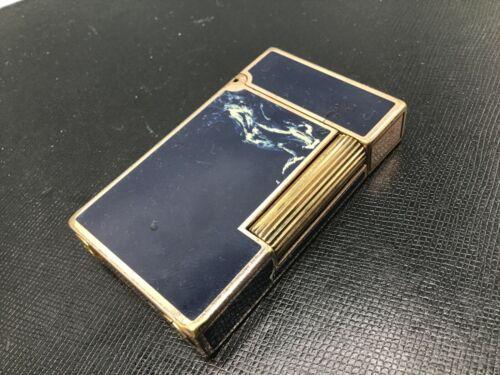 ST Dupont Ligne 2 Dark Navy Blue White Swirl Gold Trim Cigar Lighter Soft Flame