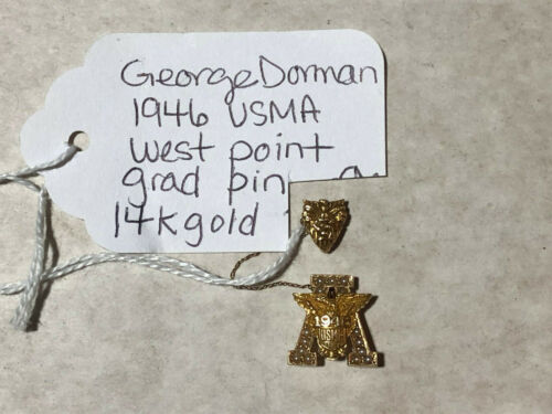 """Vintage 1946 West Point USMA 14K Gold """"A"""" Sweetheart Pin"""