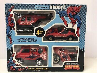 SPIDERMAN! Buddy L 1984 SECRET WARS Boxed Set w/ Four MINT Vehicles