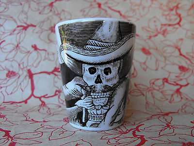 Day of the Dead Black and White Ceramic Shot