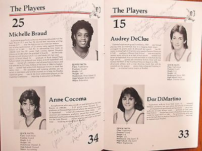 1985-86 Bradley Univ. Womens Basketball Guide(11 Sign/ANGELA BECK/MICHELLE BRAUD