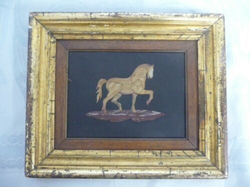 "LOVELY VINTAGE/ANTIQUE PIETRA DURA FRAMED HORSE - GILT WOOD FRAME - 8"" by 9-1/2"""