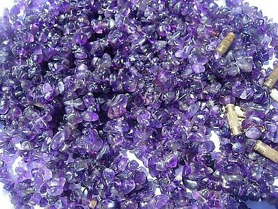 Dark purple AMETHYST Crystal Chip Bead Necklace about 18