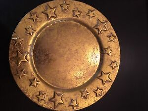 Charger Plates - Gold with Stars- Set of 6