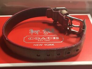 """COACH Genuine Leather Dog Collar Size XS Fits 8.5-10.5"""" Neck"""