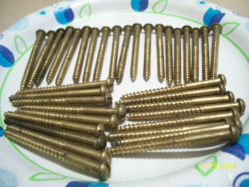 "36 - VINTAGE SOLID BRASS-BRONZE WOOD SCREWS WITH THE ROUND SLOT HEAD, 2"" X #9"