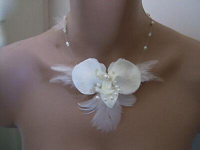 Vestido de boda blanco del collar d la orquídea de marfil boda...