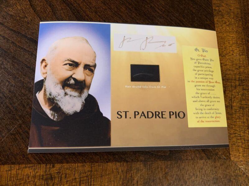 Saint Padre Pio hair strand lock relic Catholic Church Ex Capillis St. Pio card