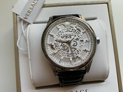 Versace Watch For Men In Black Leather Swiss Made 44mm Stainless Steel