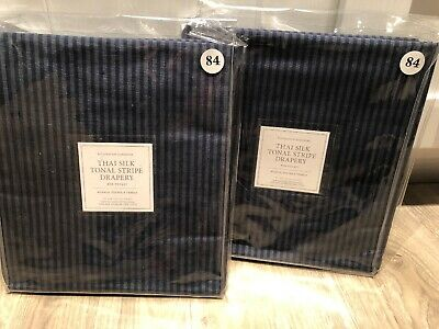 Set 2 Restoration Hardware THAI SILK TONAL STRIPE Drapery Panels Indigo Blue ()