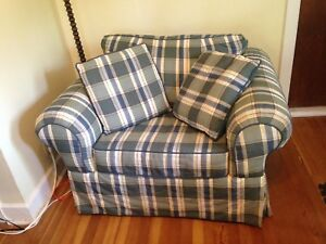 Blue, green & yellow plaid living room chair