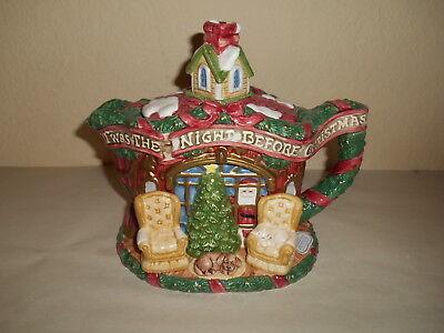 Fitz & Floyd Twas The Night Before Christmas 33oz Teapot 1993