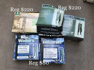 HIP WADERS + CHEST WADERS + FISHING ROD + BATTERY BOX  ( NEW )