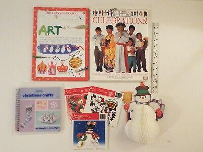 7-lot-Usborne-Christmas Art Ideas-Watt-Celebrations-Crafts-Snowman Honeycomb*  ()