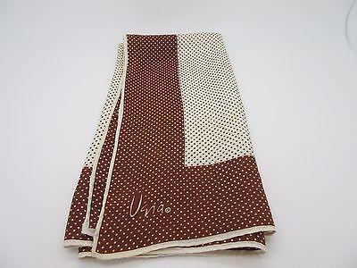 "Vintage Vera Scarf Polka Dot Brown Cream 70s 22"" Silk Blend"