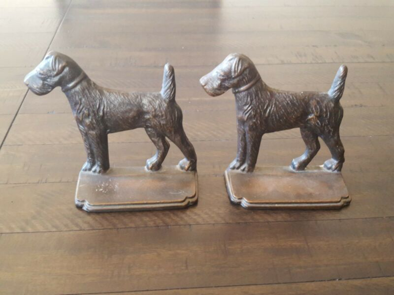Vintage Bookends Dog  Terrier,Airedale,Fox,Welsh marked MP
