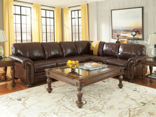 Old World Formal Living Room Brown Leather Large Sofa Sectional Couch Set Ig1i