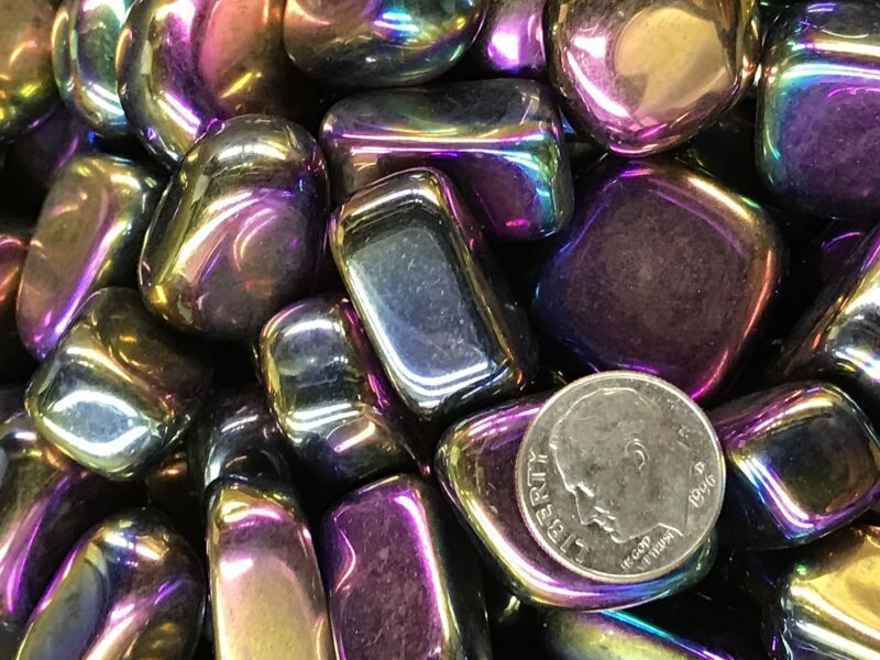1000 Carats of HIGH END Polished Tumbled Rainbow Hematite +FREE Faceted Gemstone