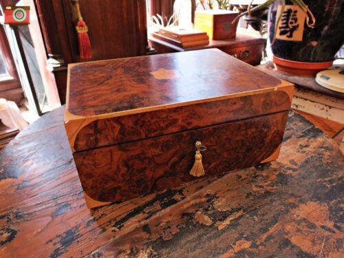 VICTORIAN BURR WALNUT JEWELLERY BOX. RESTORED. LOVELY CONDITION