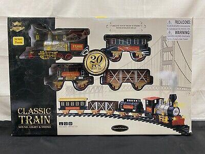 Classic Christmas Train Set With Light Sound Smoke Kids Toy Children Xmas Gift
