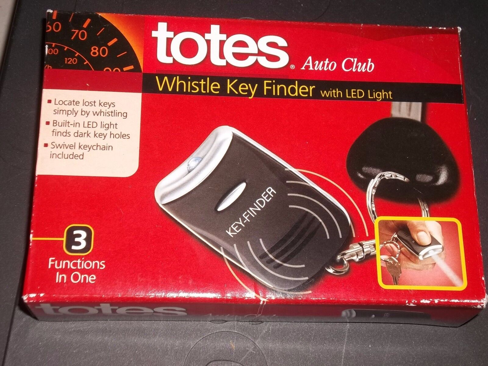 NEW TOTES Whistle Lost Key Finder LED Flashlight Keychain Key Chain