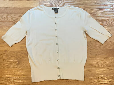 Women's Audrey & Grace Button Down Pearl Short Sleeve Ivory Cardigan Size Small
