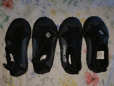 2 Pairs boy's girls O`Neill beach surf Wetsuit shoes  L + XL shoe size 12 13 1 2