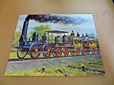 Vintage 1962 Teach A Chart Poster Early Trains Railroad #12