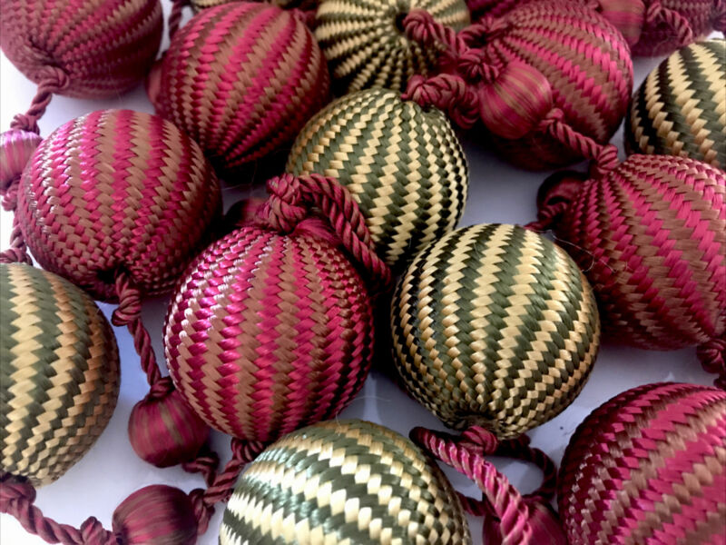 "Christmas Garland Silk Satin Balls 80"" Cottagecore Tree Decor"