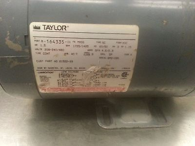 1.5 Hp Taylor Ice Cream Machine Beater Motor Used
