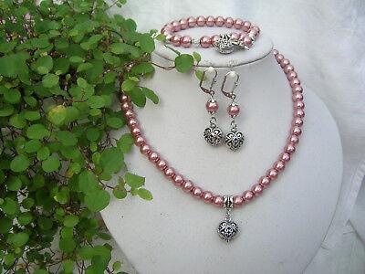Tolles 3-tlg.Trachtenschmuck-Set Glasperlen Halskette Armband Ohrringe Farbwahl