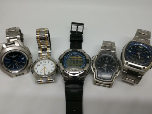 5 casio watches, AW 81, AW 24,  MTP 3050, MTP 1275, W 753