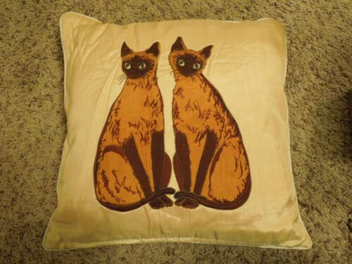 Vintage Handmade Chocolate Point Twin Siamese Dual Sided Quilted Pillow