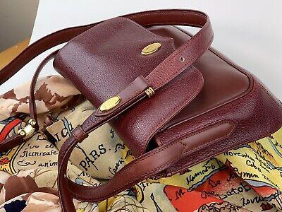 Auth Must De Cartier Crossbody Shoulder Bag Burgundy Pebbled Leather