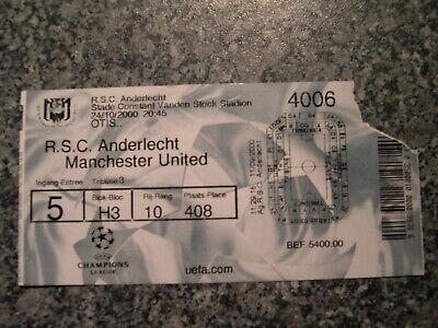 Ticket: Anderlecht - Manchester United UEFA Champions League (24-10-00)