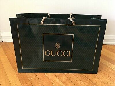 2 Vintage Dark Green & Gold GUCCI Paper Shopping Bags