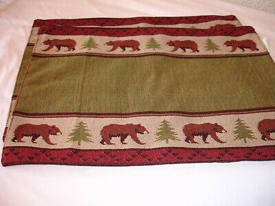 New! S/2 Tapestry Bear Lodge Wildlife Place Mats Kitchen Dining Placemat Set Lodge Tapestry Placemat