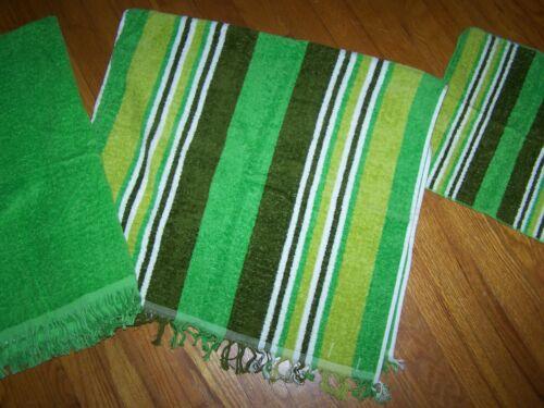 VINTAGE CANNON 3 PIECE BATH TOWEL & WASH CLOTH SET GREEN STRIPE