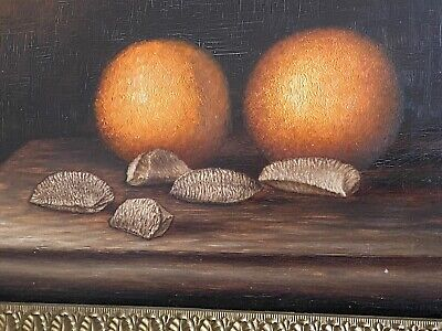 Antique Old Still Life OilPainting 1800's New England Oranges Nuts Farmington Me Still Life Oranges